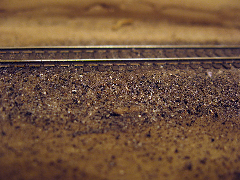 This is an extreme closeup of the painted and ballasted track.